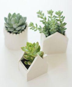 ideas diy para decorar macetas con arcilla blanca Fimo