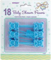Party Supplies - Party Favors Picks 18/Pkg - Blue Teddy Bear