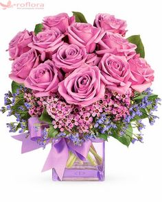 Purple roses are arranged with small purple flowers to create this all purple floral arrangement! Delivered in a square vase, with a purple bow you will adore this lively bouquet. Small Purple Flowers, Flowers For You, Purple Roses, Fresh Flowers, Pretty Flowers, Send Flowers, Flowers Drawn, Flowers Gif, Birthday Flower Delivery