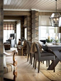 Masculine Dining Room Design Inspiration - There are lots of ways to personalize a dining room. Therefore, if you want to luxuriously decorate your dining space, look at these pics for a small . by Joey Cabin Interiors, Dining Room Design, Log Homes, Cabana, Home Interior Design, Room Interior, Interior Ideas, House Design, Modern Farmhouse