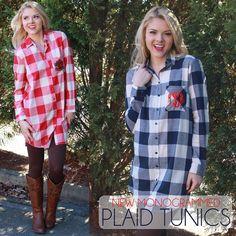*NEW* Monogrammed Plaid Tunics! Get them at www.MARLEYLILLY.com!!
