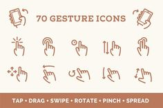 Gesture Icon Set by Web Icon Set on @creativemarket