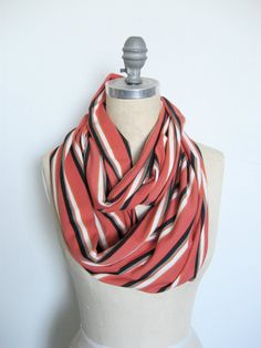 Coral Stripe Jersey Infinity Scarf