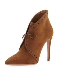 Eyelet Suede Lace-Up Bootie, Brown by Prada | SS 2014 | cynthia reccord
