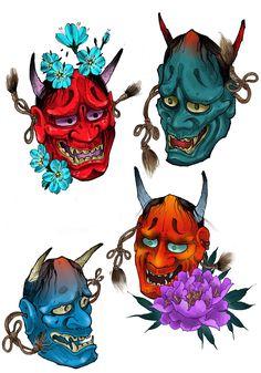 Japanese Drawings, Japanese Tattoo Designs, Japanese Art, Tattoo Brazo Mujer, Hanya Mask Tattoo, Japanese Demon Tattoo, Neue Tattoos, Asian Tattoos, Japan Tattoo