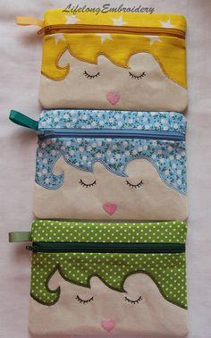 A Digital Machine Embroidery Cute girl Zipbag Design. Lined Zipper Bag. For hoop - A Digital Machine Embroidery Cute girl Zipbag Design. Sewing Crafts, Sewing Projects, Machine Embroidery Projects, Embroidery Ideas, Fabric Bags, Zipper Bags, Cute Girls, Sewing Patterns, Applique