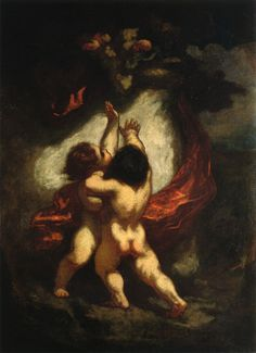 Two Cupids with Red Drapery, 1845-1850 Honore Daumier