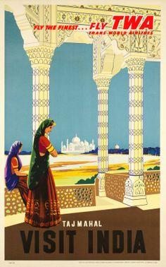 TWA, Fly TWA, visit India, Taj Mahal