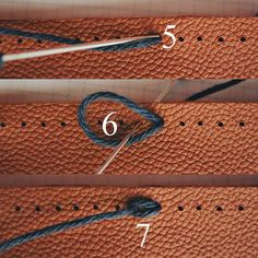Knitting Onto Leather - Closeups on Knitting Needles and Leather