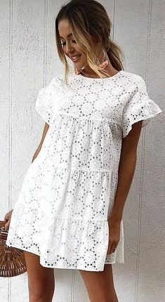 Product Details: Round Neck Short Sleeves with Ruffle Trim Tiered Lace Fabric Size Chart: Size Shoulder Length Bust cm inch cm inch cm inch S 38 15 89 35 94 37 M 39 90 98 L 40 91 102 XL 41 92 106 42 93 110 Mode Outfits, Dress Outfits, Casual Dresses, Casual Outfits, Summer Dresses, White Summer Beach Dress, Beach Outfits, Casual Clothes, Summer Outfits
