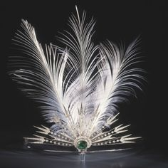 Platinum, Diamond, Emerald and Feathered Aigrette, 1914 Chaumet Wedding Tiara