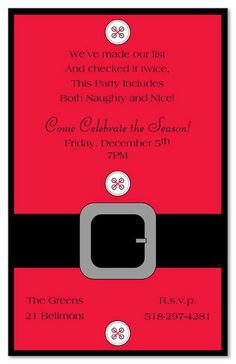 Santa & Snowman Christmas Party Invitations, Santa's Suit