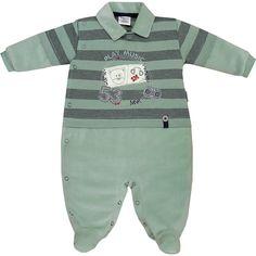 Macacão Recém Nascido e Bebê Menino em Plush Listrado Verde - Sonho Mágico :: 764 Kids   Roupa bebê e infantil