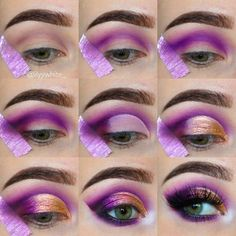 22 Ideas For Eye Makeup Purple Gold Mac Eyeshadow Make Up Tutorial Contouring, Makeup Tutorial Eyeliner, Drag Makeup Tutorial, Eyeliner Makeup, Queen Makeup, Beauty Makeup, Hair Makeup, Mac Eyeshadow, Eyeshadow Looks