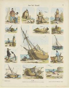 W. Lichtenheld | Aan het strand, W. Lichtenheld, Hermann van der Moolen, K. Braun en Fr. Schneider, 1843 - c. 1920 | Blad met 9 voorstellingen van strand- en visserijtaferelen, waaronder een windas, een visverkoopster, vissersvaartuigen en een drenkeling op het strand. Genummerd midden onder: Nro. 106. Genummerd rechtsboven: 106.