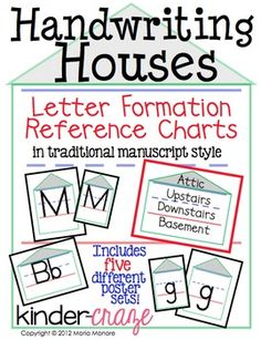 Handwriting Houses Reference Charts for Traditional Printing, 107 pages alphabet charts for $8