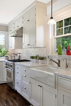 Kitchen white cabinets hardwood floor Design Ideas, Pictures, Remodel and Decor