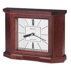 "Bulova Radio Controlled Crown 10"" Wide Mantel Clock"