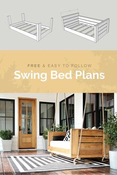 Check out these easy to DIY swing bed plans. Step by step instructions on how to build a swing bed for your porch! Screened In Porch Diy, Diy Porch, Porch Ideas, Front Porches, Patio Ideas, Wood Pallet Furniture, Diy Furniture, Front Porch Furniture, Furniture Cleaning