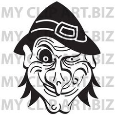 Halloween Witch http://www.myclipart.biz/illustration/14971/evil_warty_halloween_witchs_face_grinning_black_and_white
