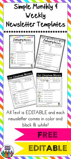Editable Newsletter Templates Newsletter templates, Template and - kindergarten newsletter template