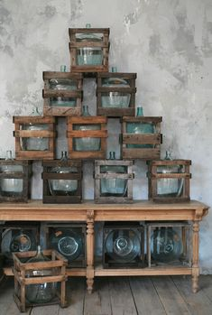 Vintage Wine These would make magnificent lights, among other things. - Check out the Vintage Wine Bottles in Crates in Decorative Accessories, Vases from Eloquence for .
