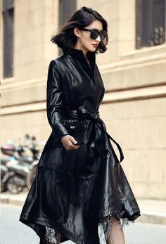 High Class Fashion, Rain Wear, Asian Fashion, Leather Fashion, Lady, Mantel, Asian Girl, Leather Skirt, Female