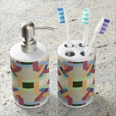 Shop Gray and Pink Chevron Monogram Soap Dispenser And Toothbrush Holder created by mybabytee. Personalize it with photos & text or purchase as is! Wine Bath, Floral Bath, Mens Soap, Rainbow Chevron, Chevron Monogram, Quatrefoil Pattern, Bath Soap, Bathroom Sets, Bathrooms