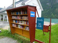 library in a bus stop in Norway