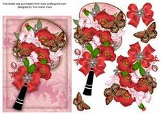 Red Poppy Pink Iris Butterfly Fan Decoupage Sheet