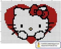 hello kitty punto de cruz and like OMG! get some yourself some pawtastic adorable cat apparel! Cross Stitch Heart, Beaded Cross Stitch, Cross Stitch Embroidery, Bead Loom Patterns, Cross Stitch Patterns, Crochet Patterns, Hello Kitty Crochet, Modele Pixel Art, Art Perle