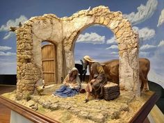 me ~ Para nuestro nacimiento 2019 Christmas Crib Ideas, Christmas Nativity Set, Miniature Christmas, Christmas Fun, Christmas Houses, Christmas Villages, Diorama, Jesus Christ Painting, Warhammer Terrain