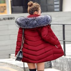 c7b8bd5c34bb womens winter jackets and coats 2019 Parkas for women 4 Colors Wadded Jackets  warm Outwear With a Hood Large Faux Fur Collar BLJC2019034
