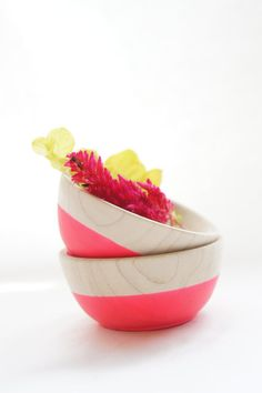 Wooden Mini Bowl Set of Two: Neon Pink - for paperclips, pushpins and other small office supplies