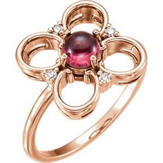 14kt Rose Pink Tourmaline & Diamond Clover Ring