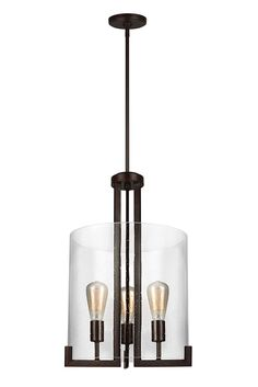 Dawes- 3 Light Hall/Foyer Chandelier by Sea Gull Lighting: Will gracefully take center stage in any foyer, kitchen or dining room. The sleek, modern silhouette adds excitement to any room without over shadowing furniture and décor. Light shines through a Clear Seeded glass shade, making the Dawes pendant an airy, unobtrusive but definitive style statement that comes to life with its cylindrical shape. In a beautiful Burnt Sienna Finish.