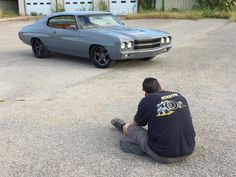 Goolsby Customs 70 chevelle nardogray. painted bumpers wheels concave 5 star. pro touring. grey. brown and black interior. tiburon ferrari. custom interior door panels