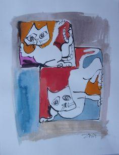 Cat  30x40cm Unikat Katze von Kunstmuellerei.com auf DaWanda.com