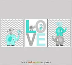 Turquoise aqua teal and grey Nursery Art Print Set  by SednaPrints, $37.50