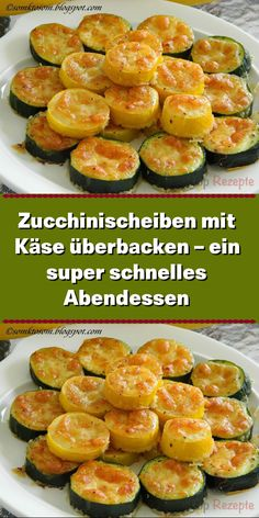 Baked zucchini slices with cheese - a super fast A-Zucchinischeiben mit Käse überbacken – ein super schnelles Abendessen Zucchini is one of my most popular vegetables and I personally eat them from spring to autumn as long as we have them in the garden. Low Carb Lunch, Evening Meals, Healthy Chicken Recipes, Healthy Food, Summer Recipes, Tapas, Dinner Recipes, Food And Drink, Vegetarian