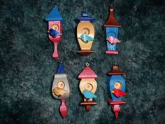 Whimsical Birdhouse Ornaments by dreamwvr81 on Etsy, $12.75