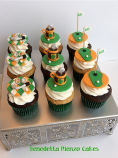 Golf Cupcakes Golf cupcake toppers inspired by the colors of the Irish Flag for a 60th birthday celebration.