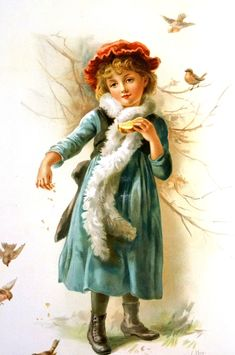 Winter, feeding the birds. Vintage Christmas Images, Vintage Images, Vintage Cards, Vintage Postcards, Old Illustrations, Children Images, Christmas Toys, Digi Stamps, Retro