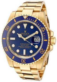 Rolex Submariner Automatic Blue Dial Oyster 18k Solid Gold