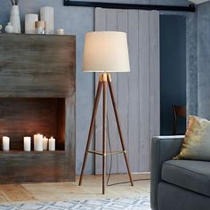 Mid-Century Wood Tripod Floor Lamp - Walnut | west elm