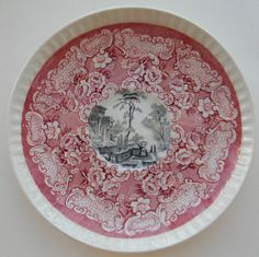 Rare Bishop & Stonier Athena Two Color Transferware Red and Black Plate Victorian Scrolls Roses