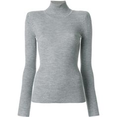 Chloé ribbed turtle neck sweater ($535) ❤ liked on Polyvore featuring tops, sweaters, grey, long sleeve sweater, ribbed turtleneck sweaters, grey sweater, ribbed sweater and gray turtleneck sweaters