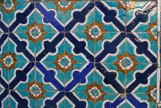 Tiles on the walls of the Blue Mosque of Mazari Sharif, Afghanistan.