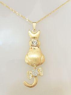 Colar   Corrente com pingente de silhueta de Gato Gatinho com strass -  folheado a ouro 35a6ad43f0
