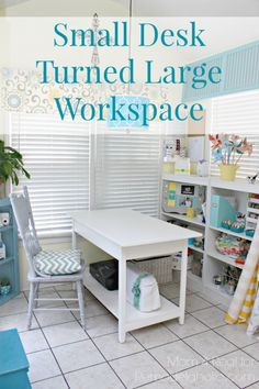 Turn a small console table into a large desk workspace with a shelf underneath! Mom 4 Real on Remodelaholic.com